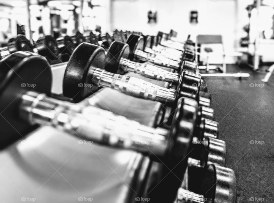 Free weights at gym on rack