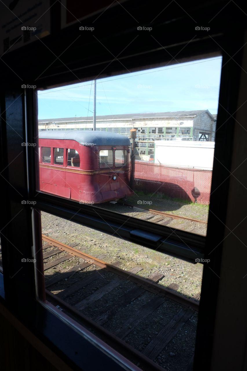 Looking through train window