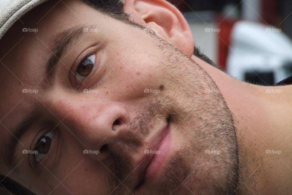 Man face. Selfie