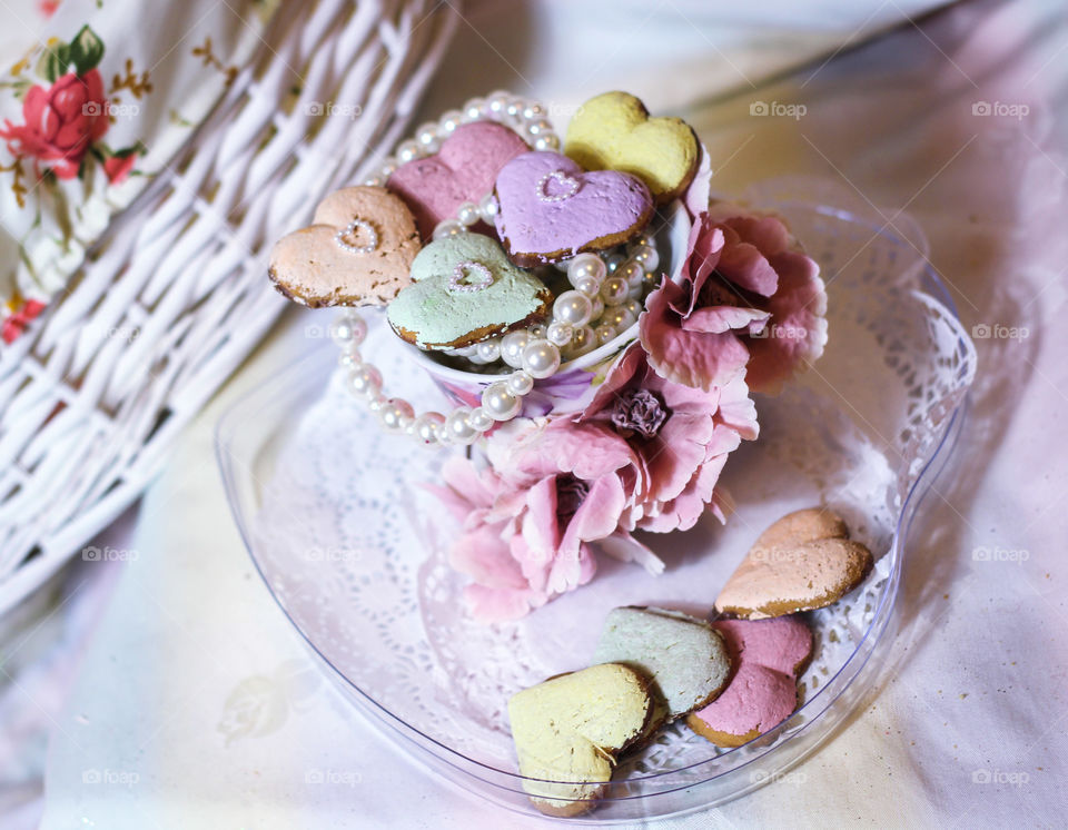 pastel Valentine heart cookies
