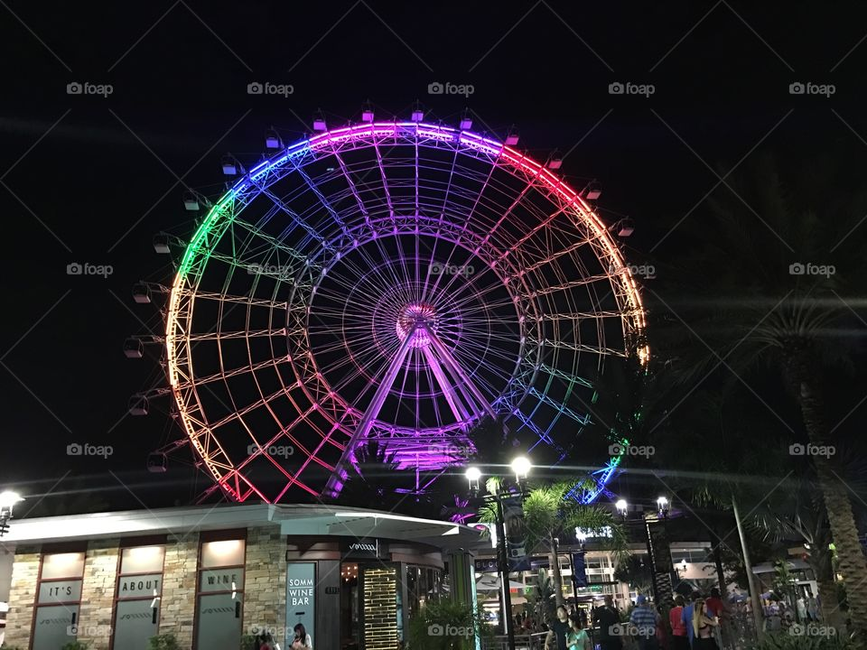The Orlando Eye has changed its colors to rainbow.  In support of the Pulse Victims.  We embrace all walks of life in Orlando.  We will not allow hate to conquer our city.  The greatest place on earth.