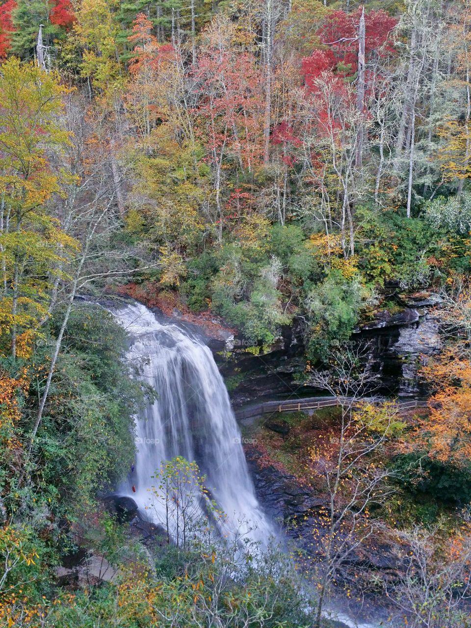 Dry Falls in Autumn. Beautiful Dry Falls near Highlands North Carolina