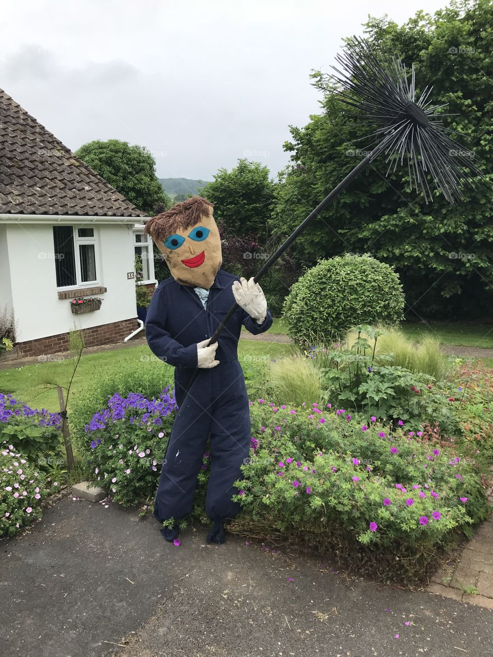 """I am loving this """"scarecrow"""" festival in Devon the results are amazing, here l give a warm welcome to Mr chimney sweep, doesn't he look fab."""
