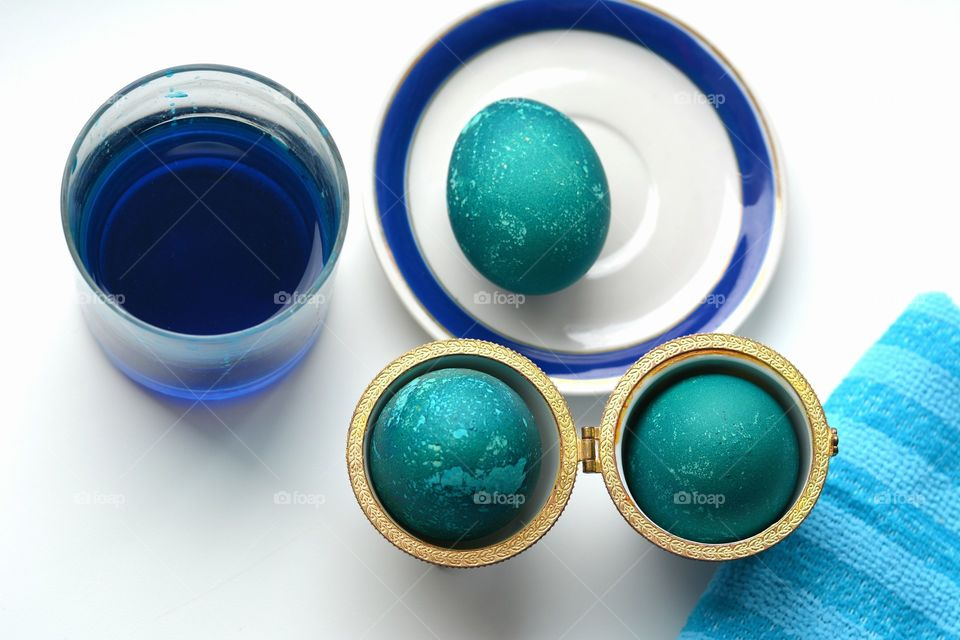 blue Easter eggs top view