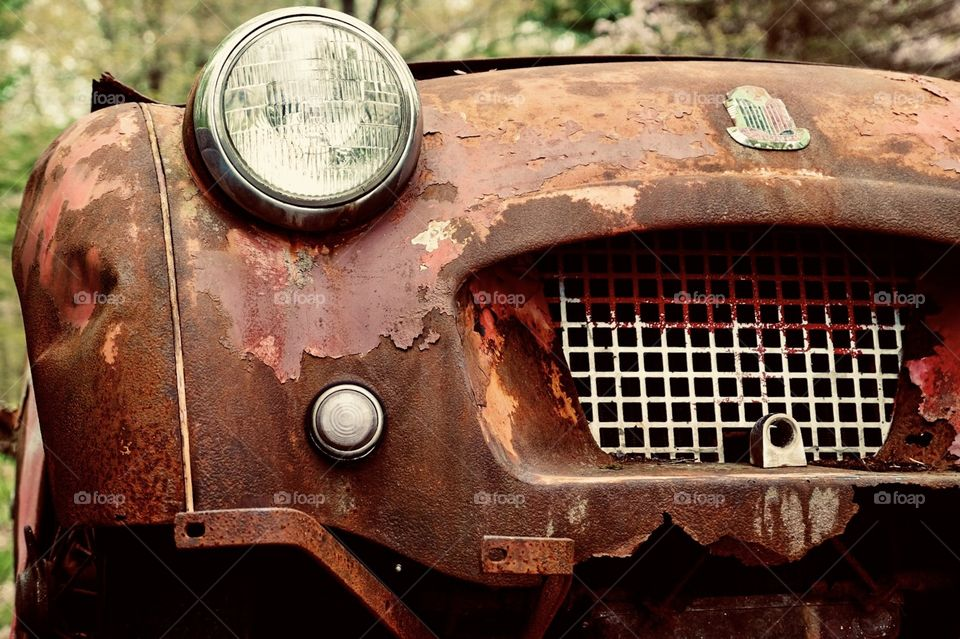 Vintage Car Front End, Triumph Car, Old Car Photograph, Trespass, Rusted Paint Peeling Vehicle