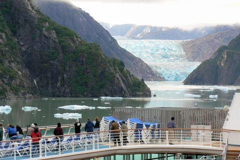 Tourists viewing Sawyer Glacier in Alaska's Tracy Arm fjord