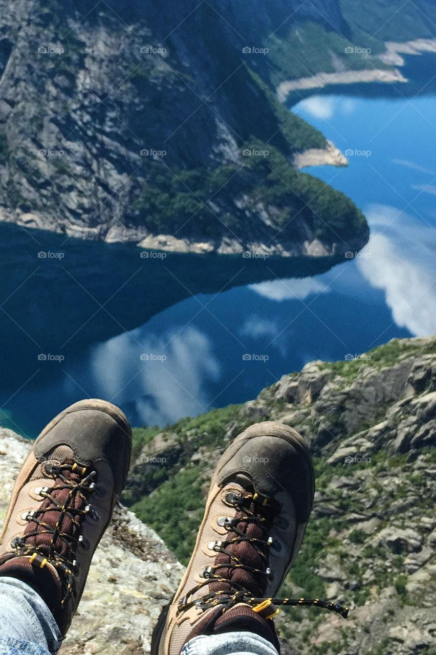 Hiking boots above the lake