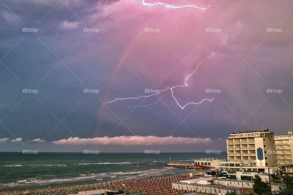 Rainbow and thunderstorm