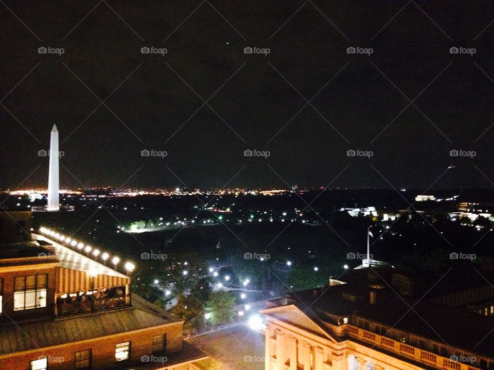 DC at Night. Was on the rooftop of Old Ebbit's Grill in Washington DC