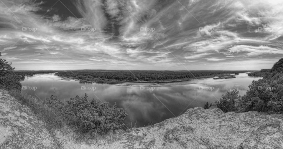 River Overlook in Black and White