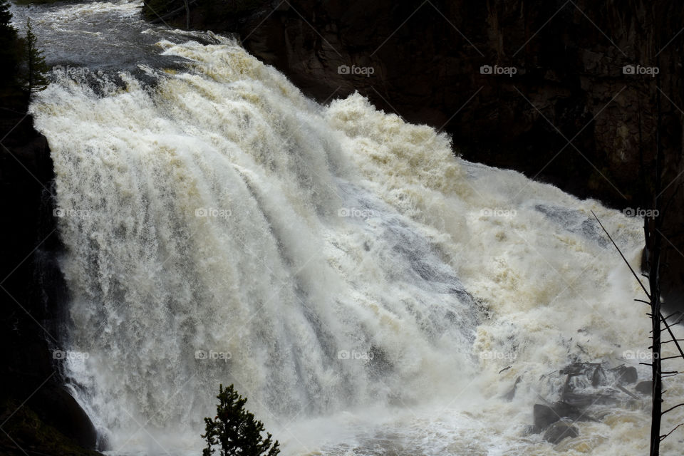 Gibbon Falls in Wyoming close up