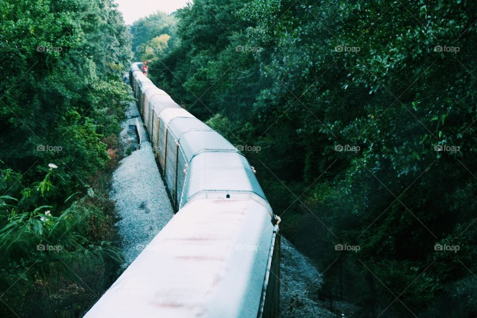 Overhead shot of a train passing