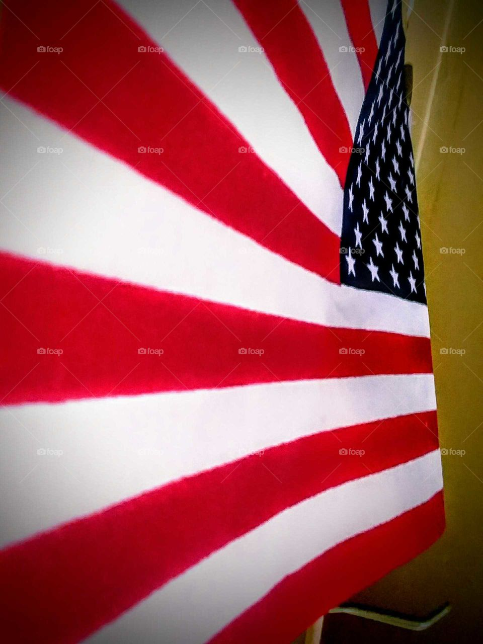 Close-up of American Flag from Stripes Looking Toward the Stars