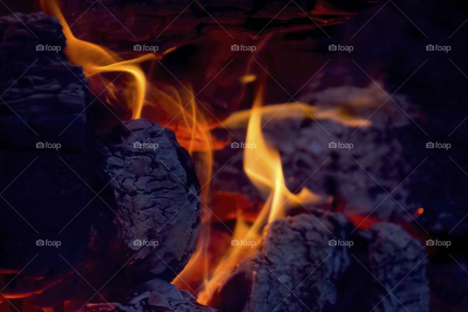 Close-up of burning coal
