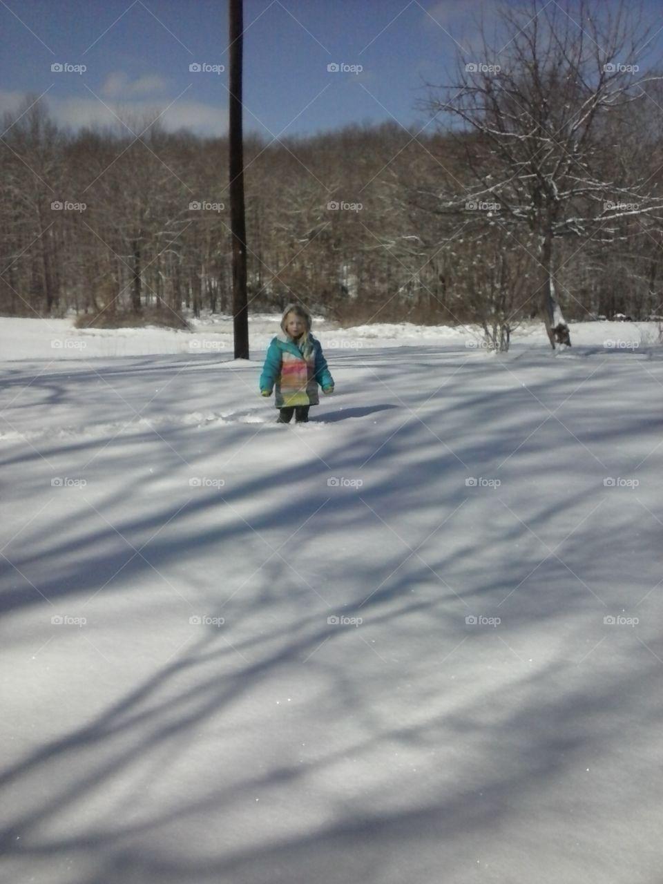 knee deep. little girl I'm knee deep snow