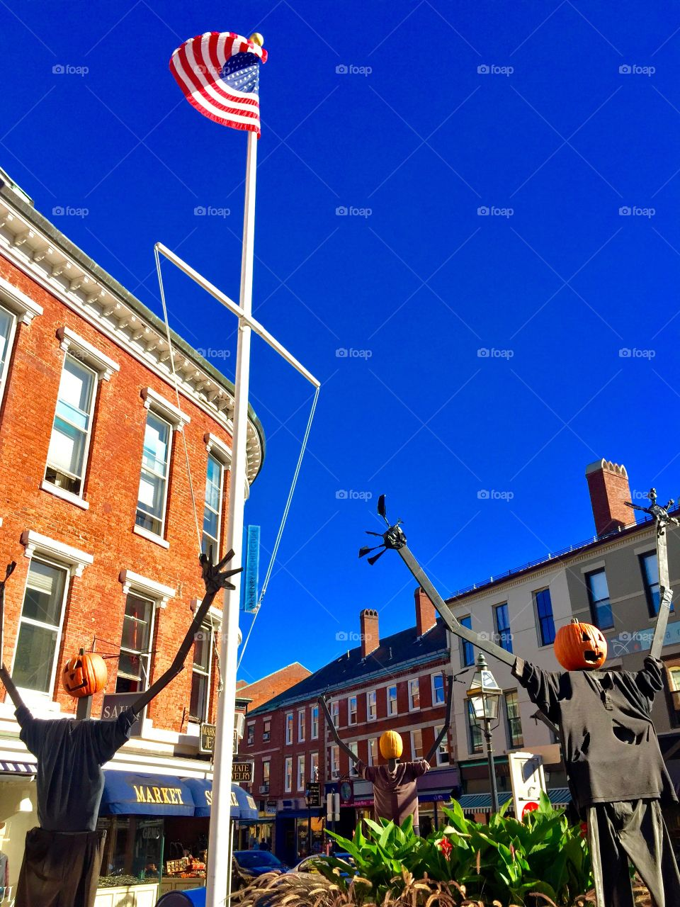 Pumpkins and a flag!  Portsmouth , New Hampshire
