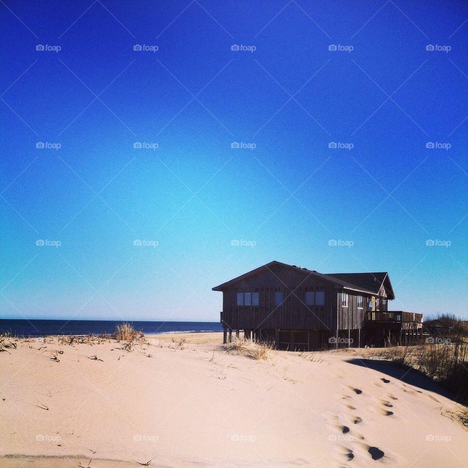 beach | no person, ocean, sand, hut