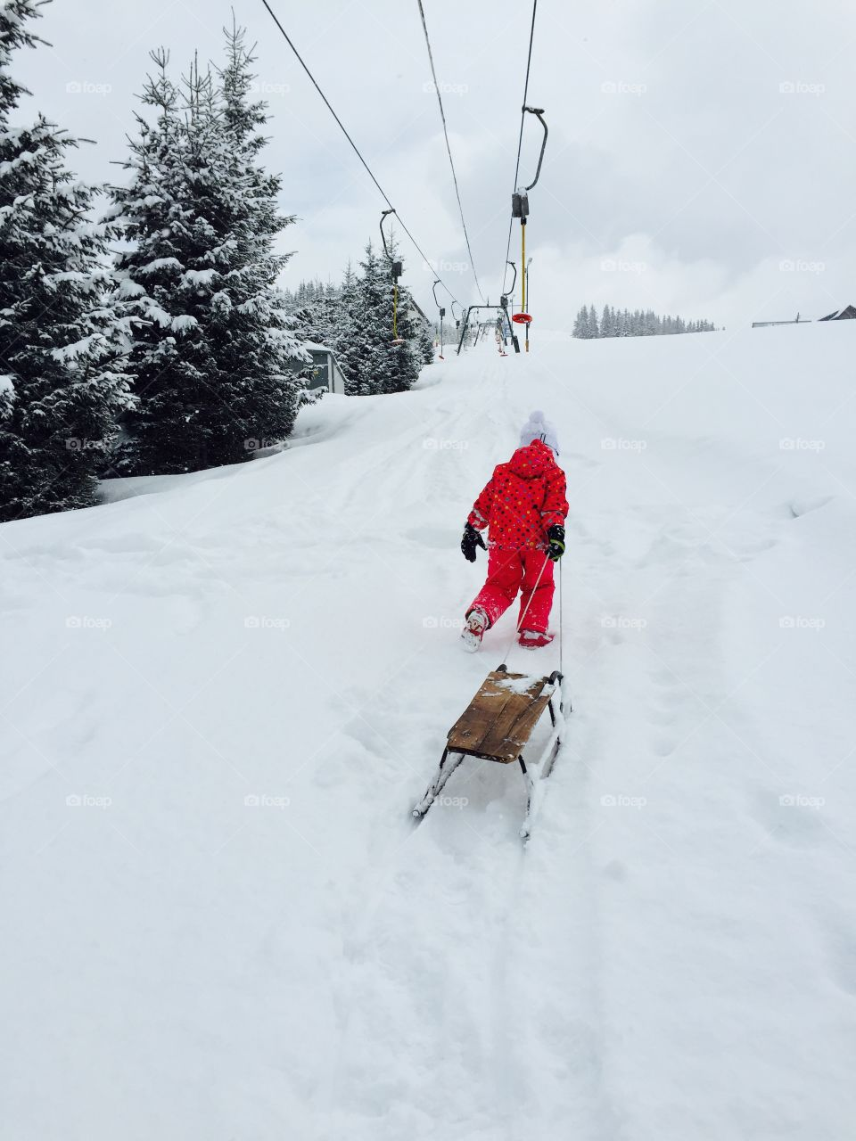 Child with sledge in winter