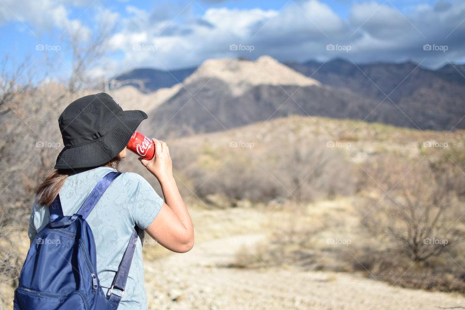 Hiking with coke