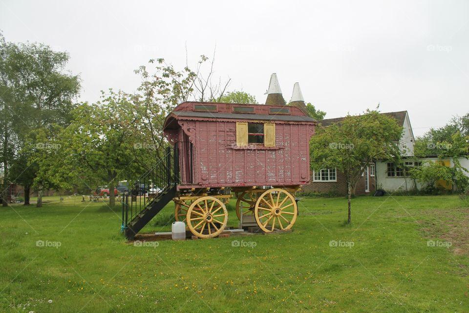 Wood gypsy caravan oast house