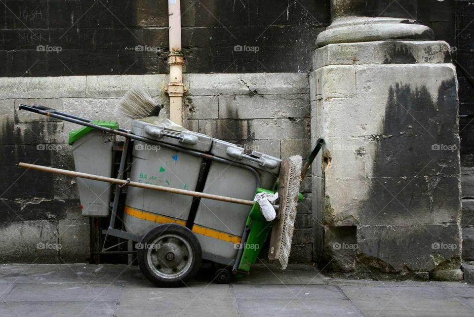 """""""Unseen things"""" rubbish collection, road sweeping in Bath Spa Somerset. West country"""