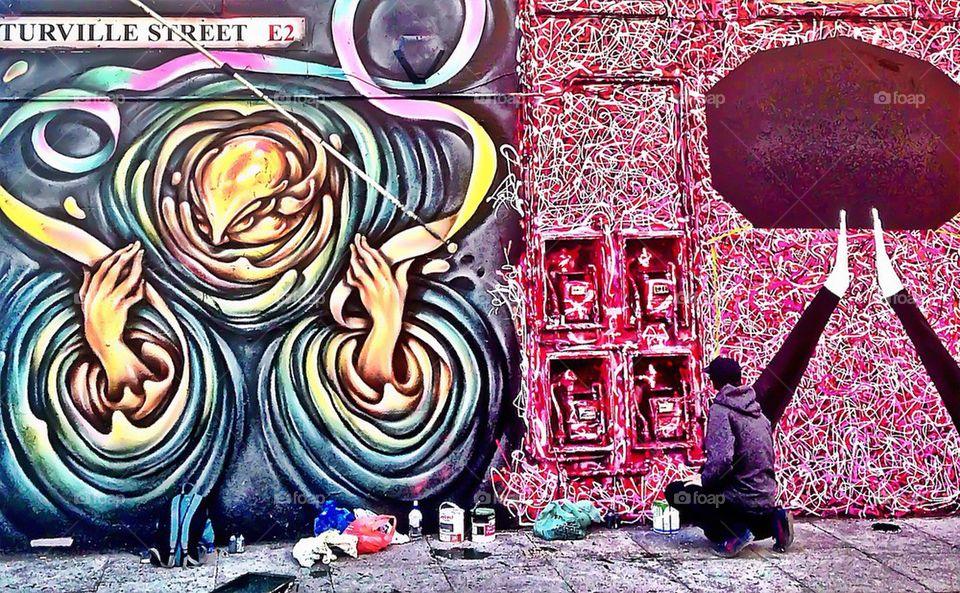 Graffiti artist at work!