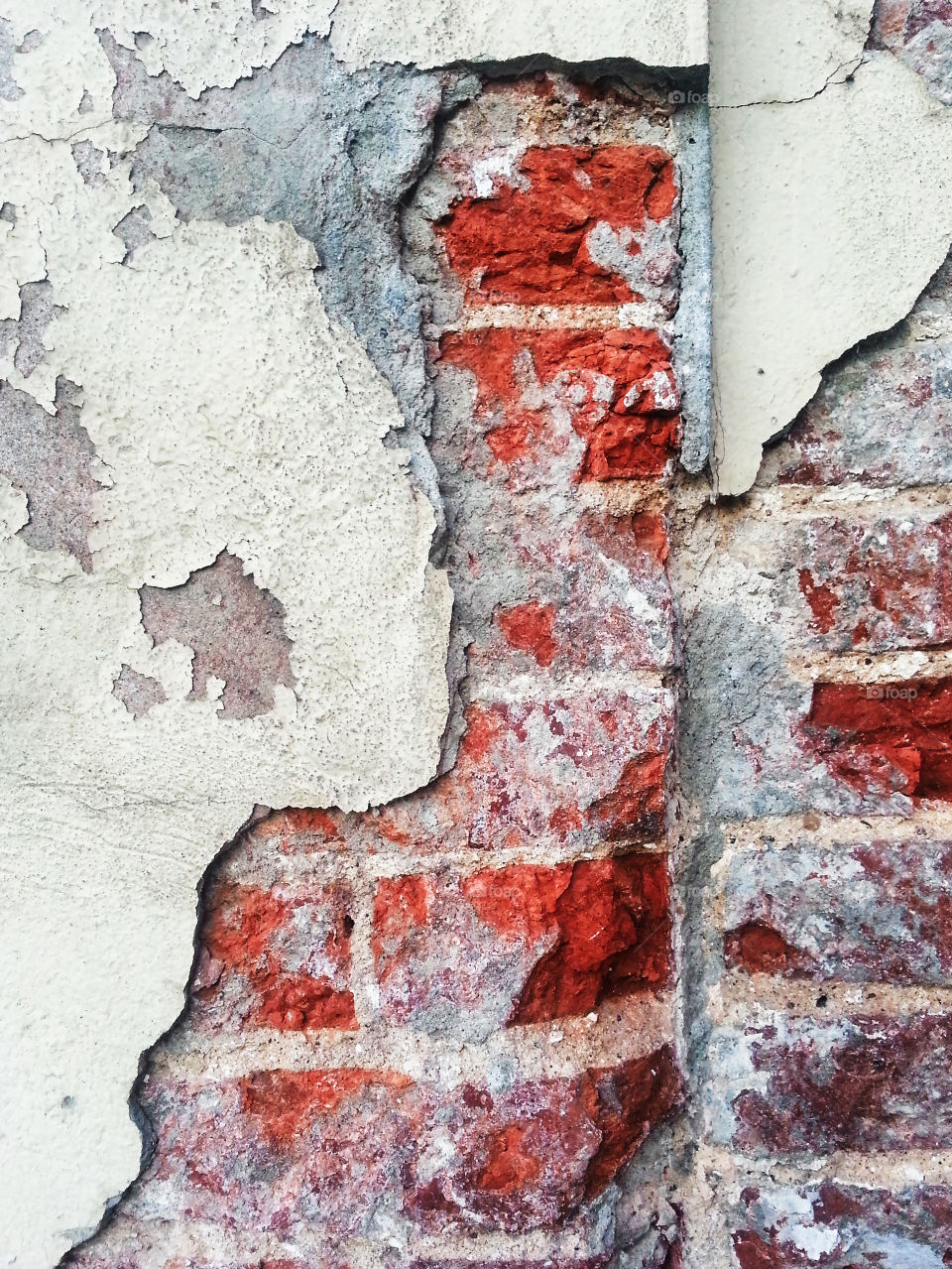 Cracked brick wall background