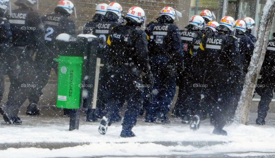 Montreal police in the snow