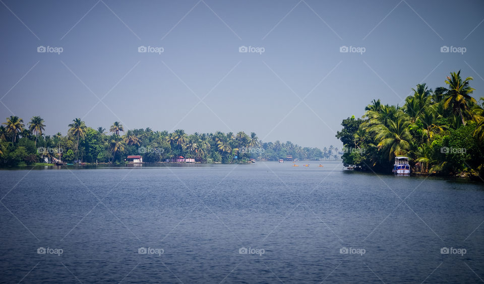 side of Lake Vembanad in Kerala, India