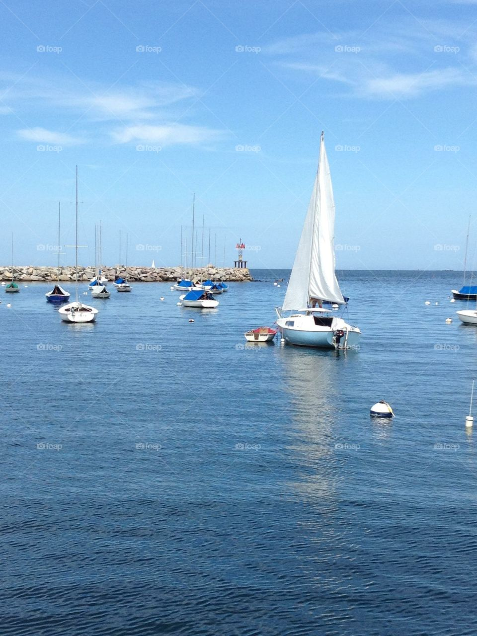 Rockport, MA harbor . Beautiful evening in Rockport