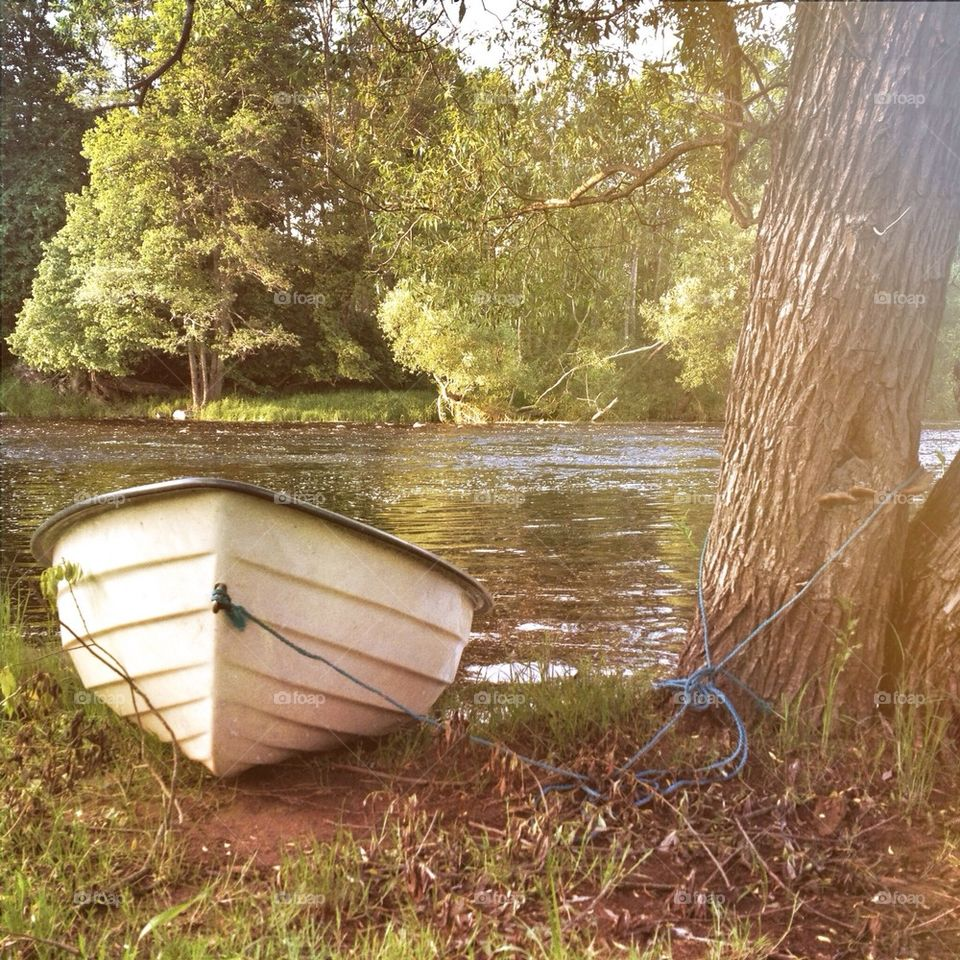 Boat moored near river