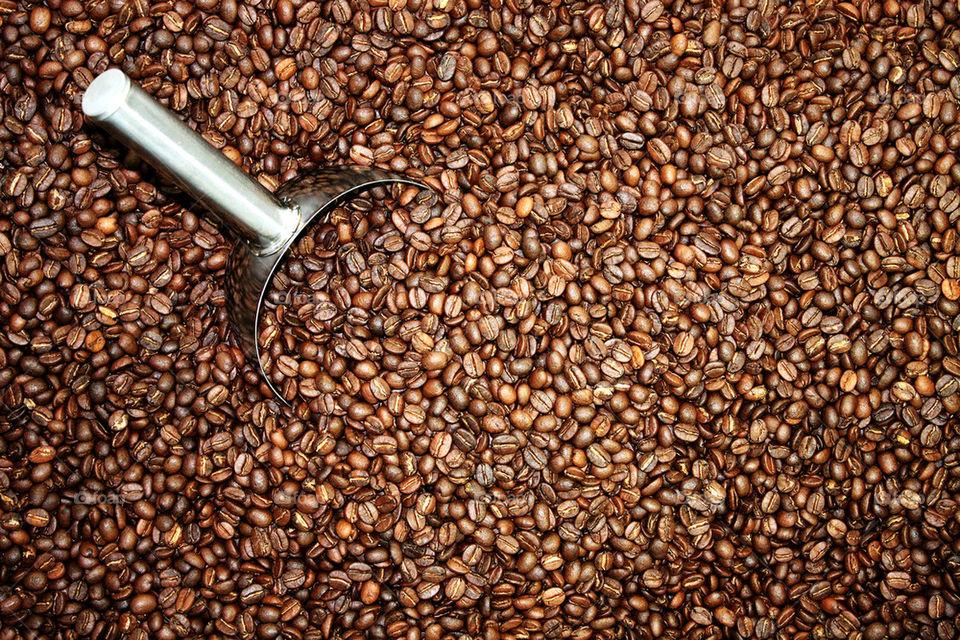Full frame of roasted coffee beans