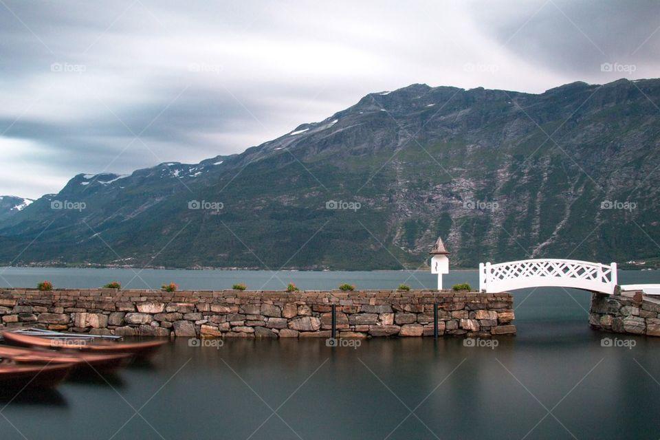 Scenic view of bridge over lake