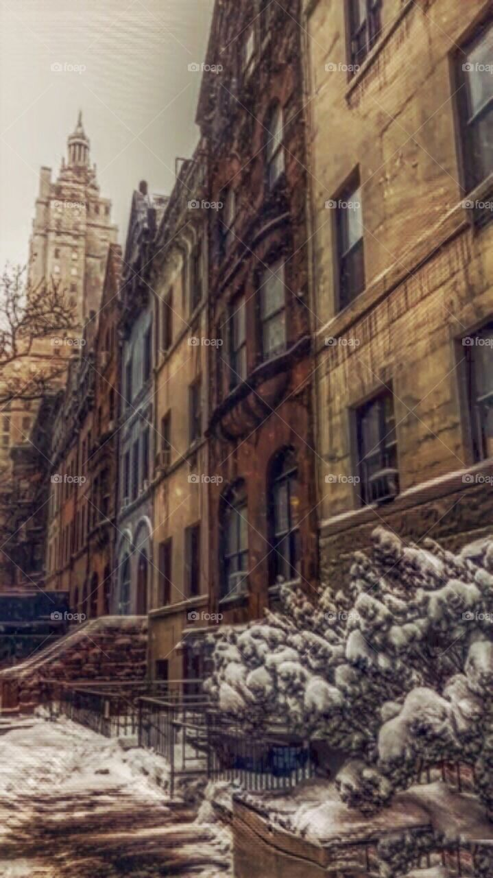 Snow Storm, Brownstone Architecture and San Remo Skyscraper,Upper West Side, New York City,