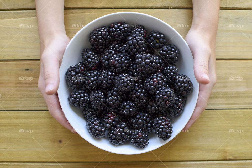 Hands holding a bowl of blackberries