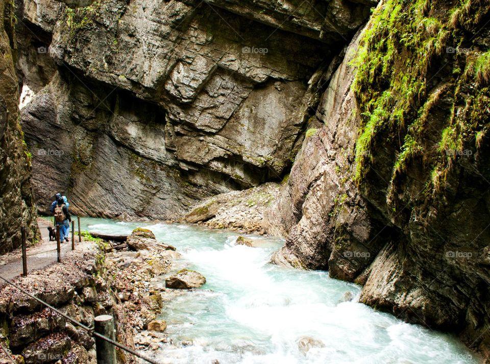 Hikers on trail through the Partnachklamm