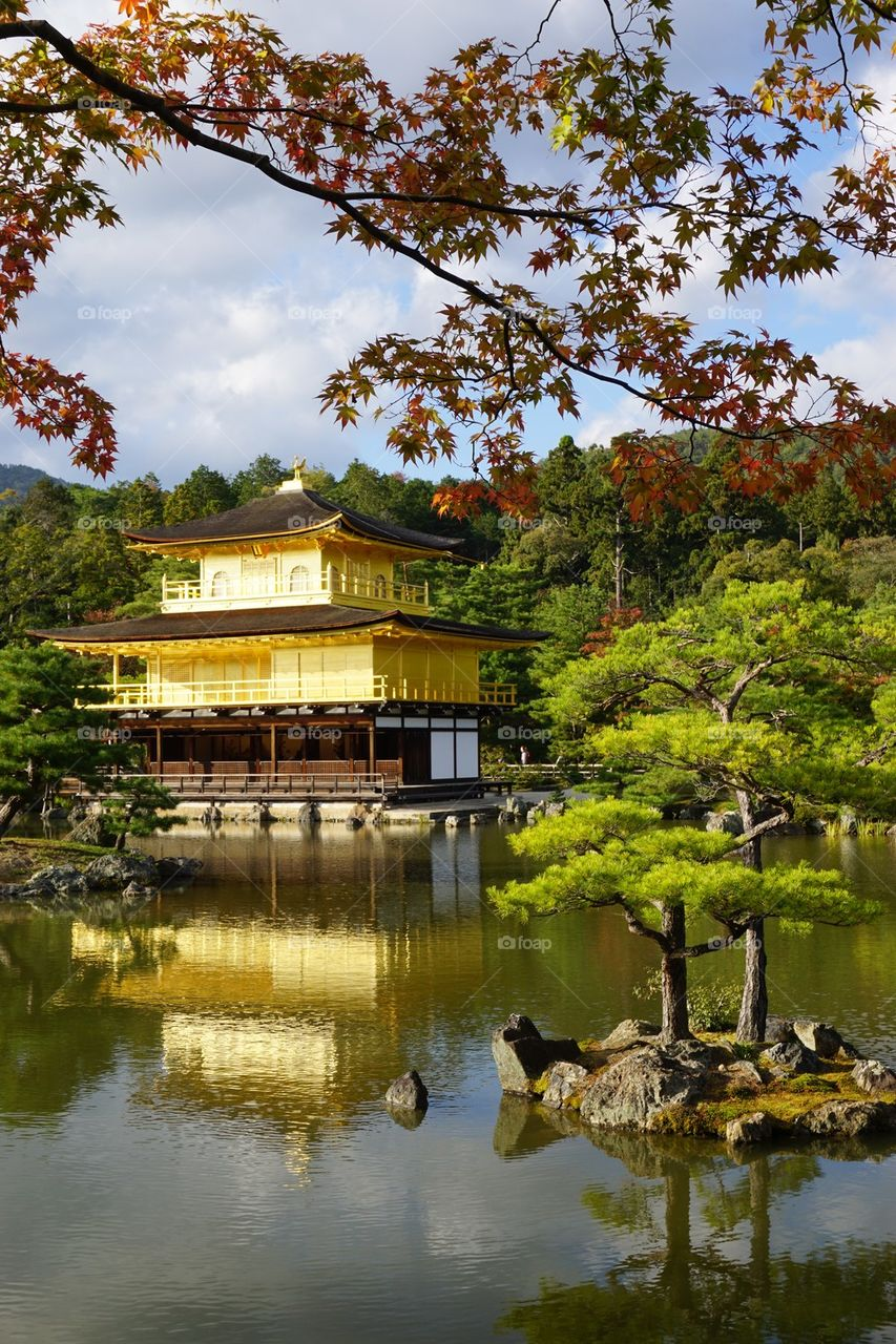 View of Golden pavilion in Kyoto