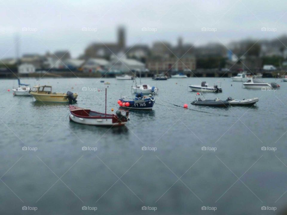 st Ives harbour Cornwall England. tilt shift boats and lifeboat house.