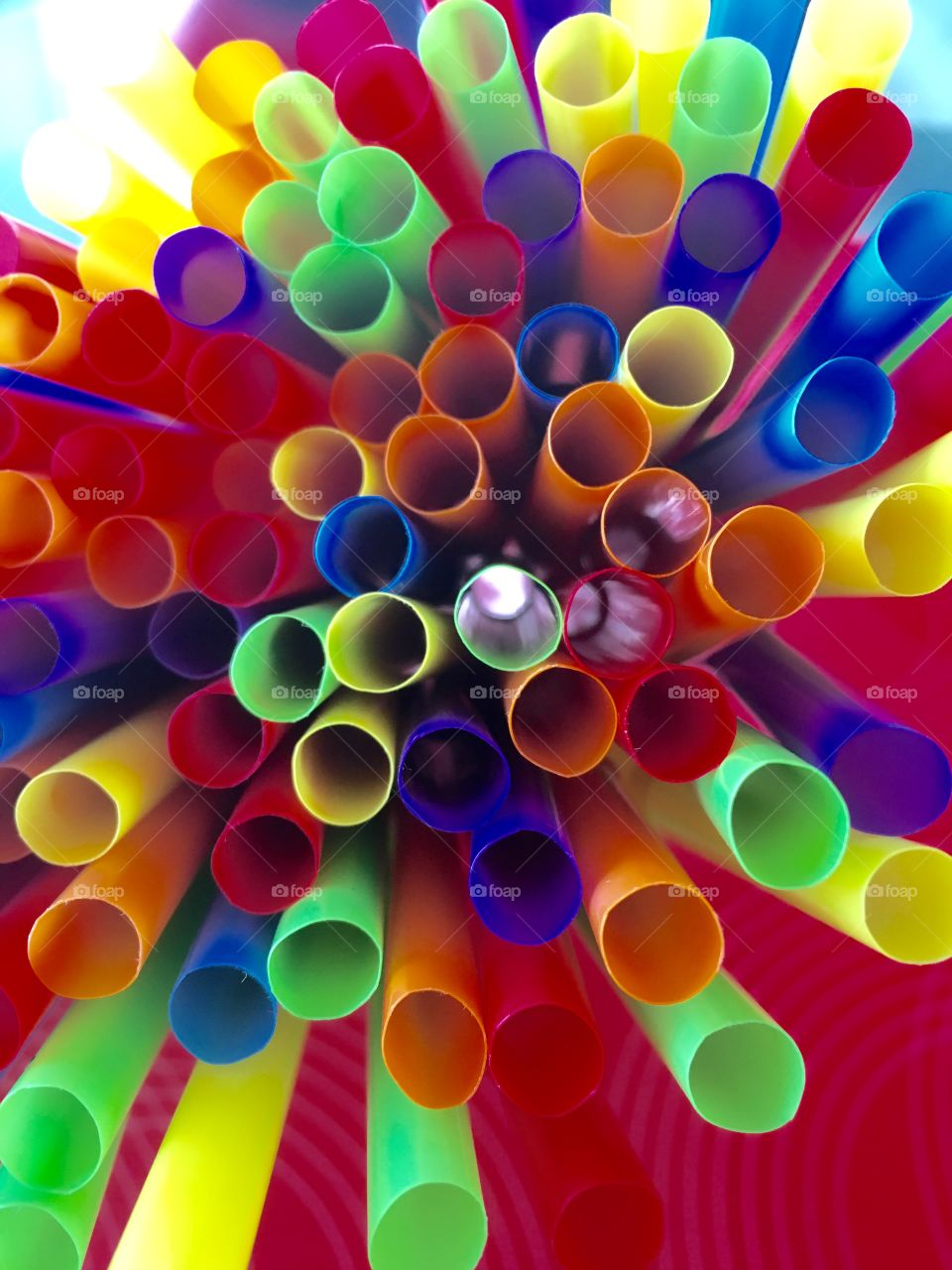 Colorful drinking straws bundle abstract