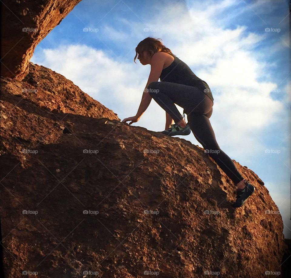 Climber. Female Rock Climber