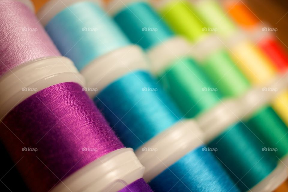 Spool of threads in factory