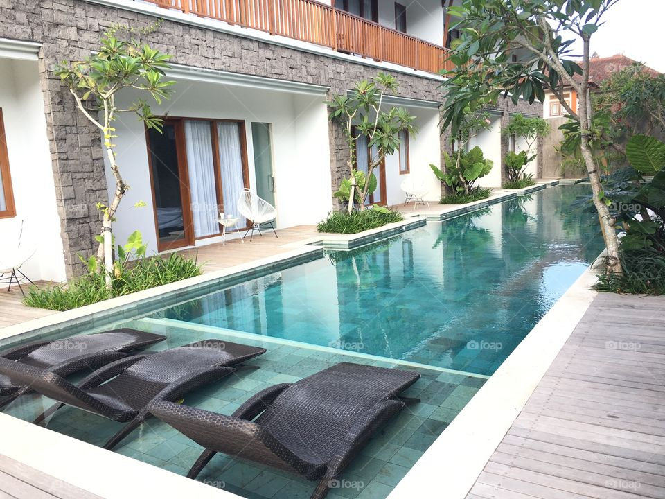 Relexing traveling enjoying staying airbnb in bali indonesia