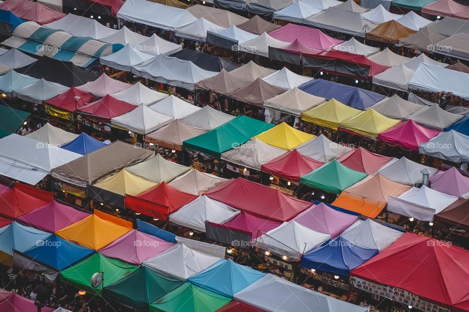 View of market stalls in Bangkok