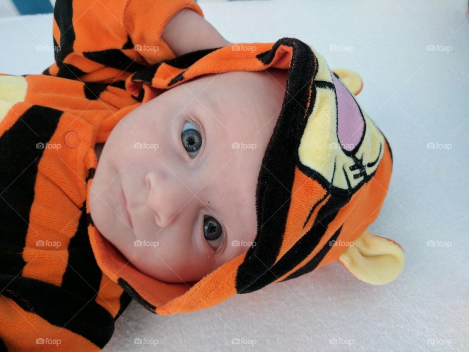 Baby Oliver is tigger the tiger