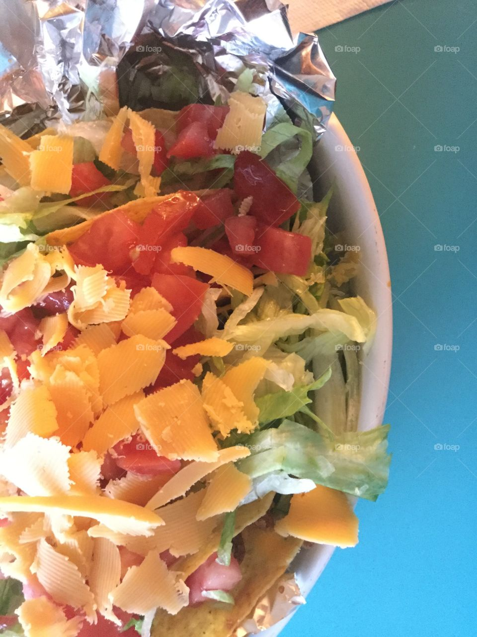 Taco salad with lots of cheese