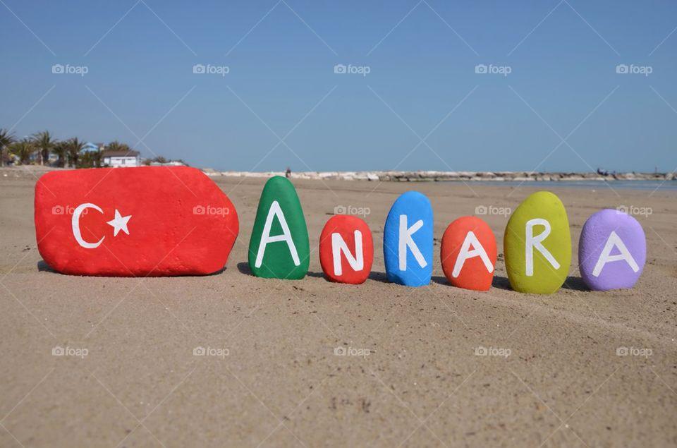 Ankara and turkish flag on stones