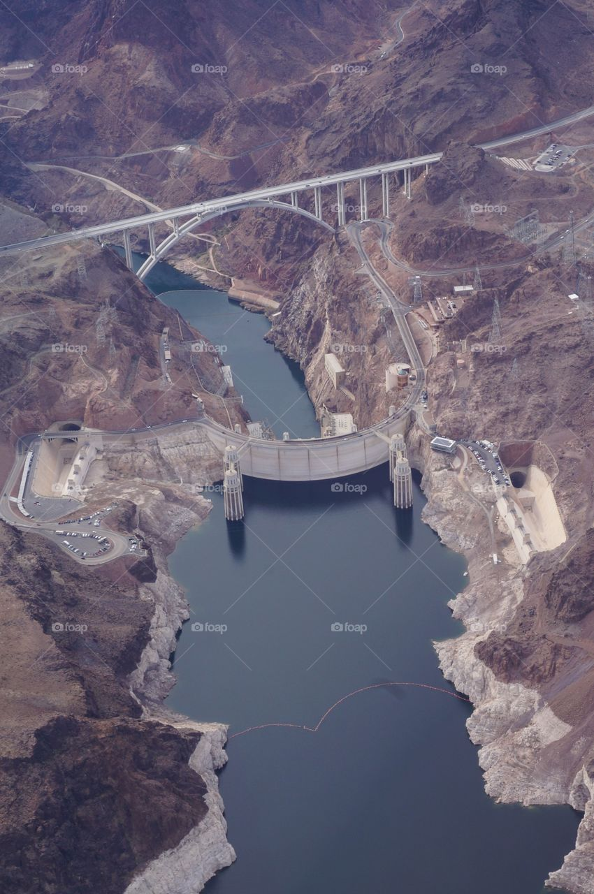 Sky view of Hoover Dam