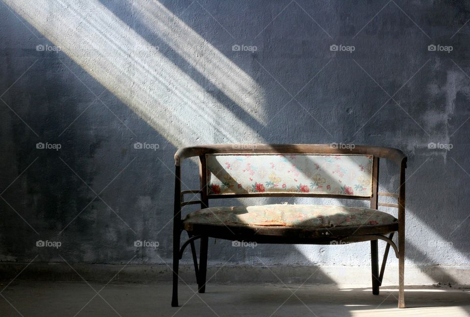 Sunbeam in the room on the empty bench