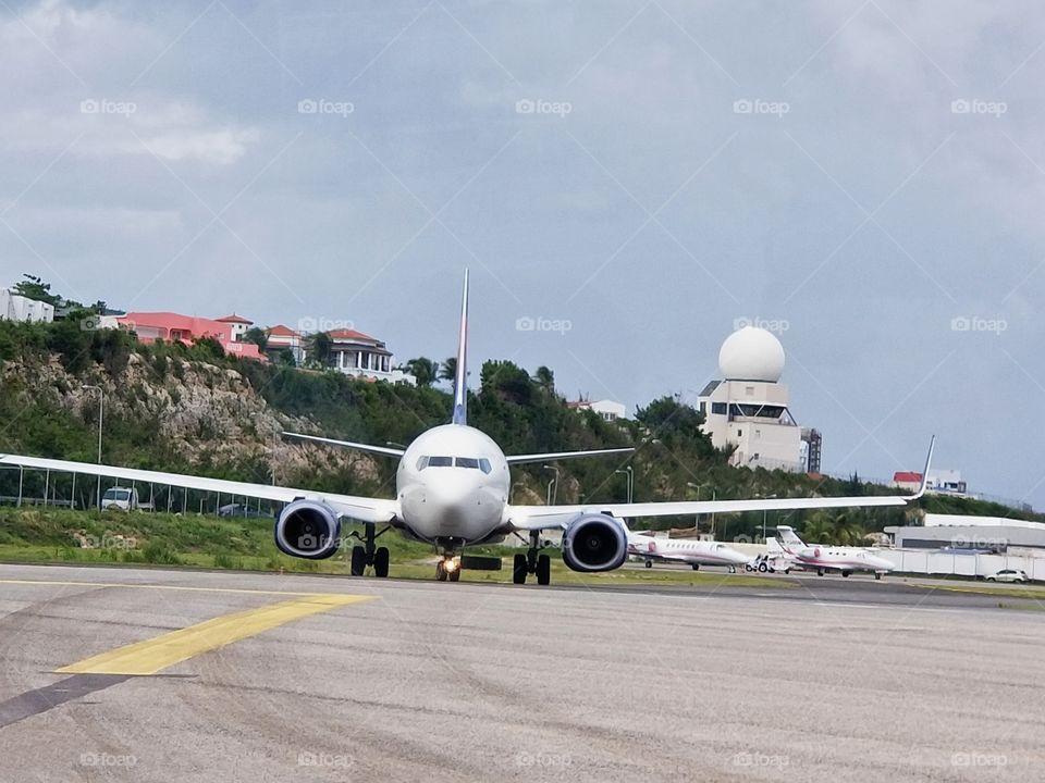 Preparing for takeoff..Princess Juliana International Airport