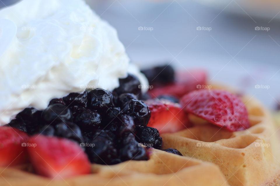 Strawberries waffle
